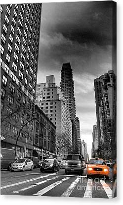 Yellow Cab One - New York City Street Scene Canvas Print by Miriam Danar