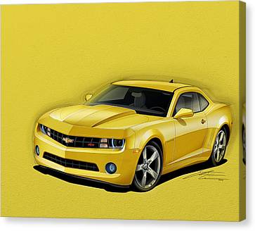 2012 Canvas Print - Yellow Camaro by Etienne Carignan