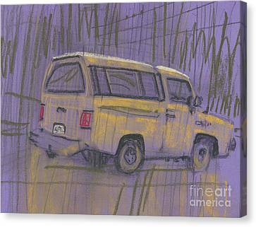Canvas Print featuring the painting Yellow Camper by Donald Maier
