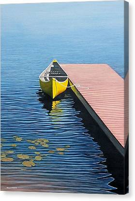 Lakeshore Canvas Print - Yellow Canoe by Kenneth M  Kirsch