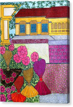 Yellow Casa Pink Flors Canvas Print