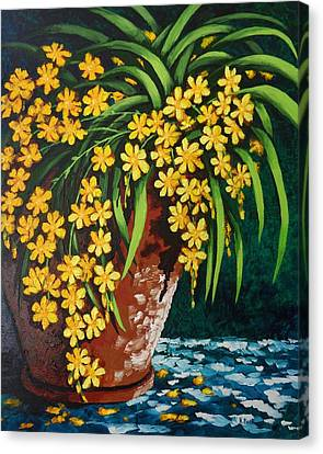 Canvas Print featuring the painting Yellow Cascade by Katherine Young-Beck