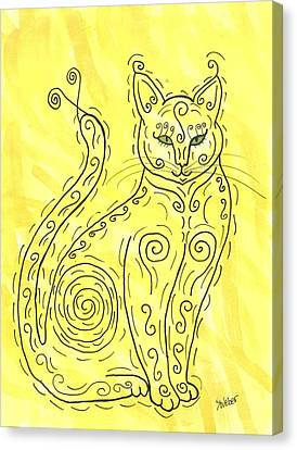 Canvas Print featuring the painting Yellow Cat Squiggle by Susie Weber