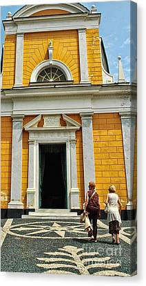 Canvas Print featuring the photograph Yellow Church by Allen Beatty