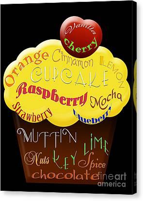 Yellow Cupcake Typography Canvas Print
