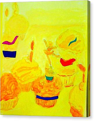 Yellow Cupcakes Canvas Print by Suzanne Berthier
