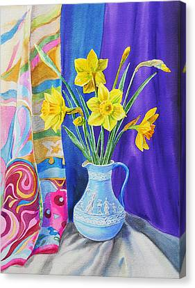 Canvas Print featuring the painting Yellow Daffodils by Irina Sztukowski