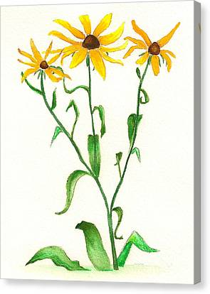 Canvas Print featuring the painting Yellow Daisies by Nan Wright