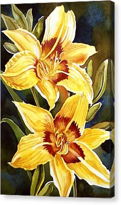 Yellow Daylilies Canvas Print by Alfred Ng