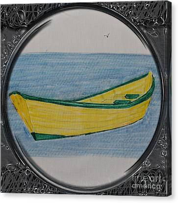 Yellow Dory Porthole Vignette Canvas Print by Barbara Griffin