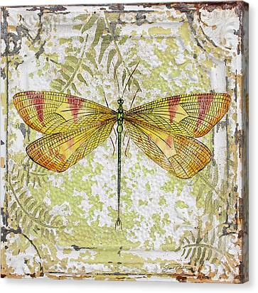 Yellow Dragonfly On Vintage Tin Canvas Print by Jean Plout