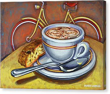 Canvas Print featuring the painting Yellow Dutch Bicycle With Cappuccino And Biscotti by Mark Howard Jones