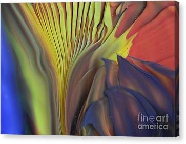Yellow Fan And Flower Canvas Print by Kimberly Lyon