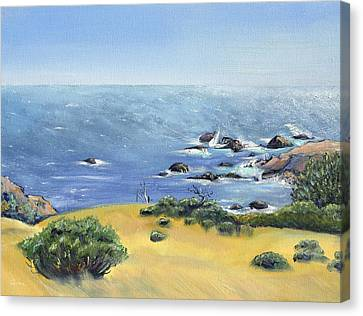 Canvas Print featuring the painting Yellow Fields And Silvery Summer Sea by Asha Carolyn Young