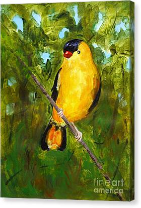 Yellow Finch Canvas Print by Valerie Lynch