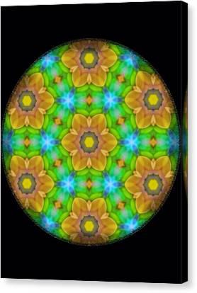 Yellow Flower Mandala Canvas Print by Karen Buford