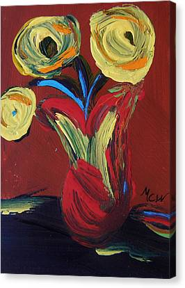 Yellow Flowers In Artisan Vase Canvas Print by Mary Carol Williams
