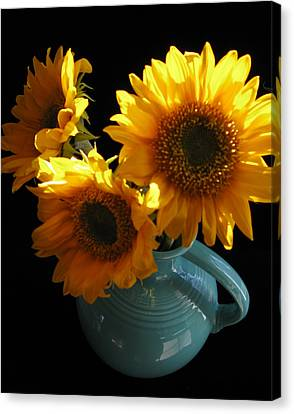 Canvas Print featuring the photograph Yellow Flowers In Fiesta Pitcher by Patricia Januszkiewicz