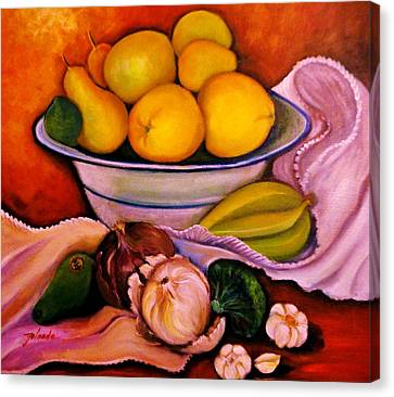 Canvas Print featuring the painting Yellow Fruits by Yolanda Rodriguez