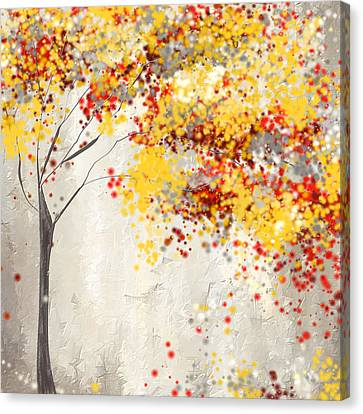 Muted Canvas Print - Yellow Gray And Red by Lourry Legarde