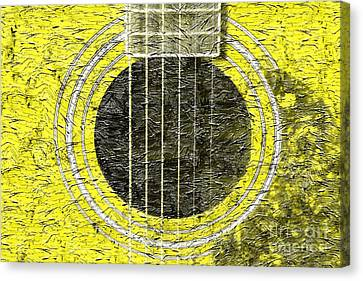 Yellow Guitar - Digital Painting - Music Canvas Print by Barbara Griffin