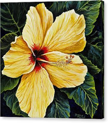 Yellow Hibiscus Canvas Print by Darice Machel McGuire