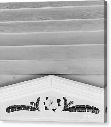 Yellow Hibiscus Wall Detail Key West - Square - Black And White Canvas Print by Ian Monk