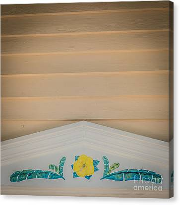 Yellow Hibiscus Wall Detail Key West - Square - Hdr Style Canvas Print by Ian Monk