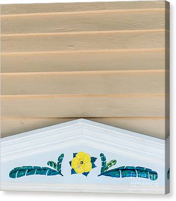 Yellow Hibiscus Wall Detail Key West - Square  Canvas Print by Ian Monk