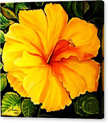Canvas Print featuring the painting Yellow Hibiscus by Yolanda Rodriguez