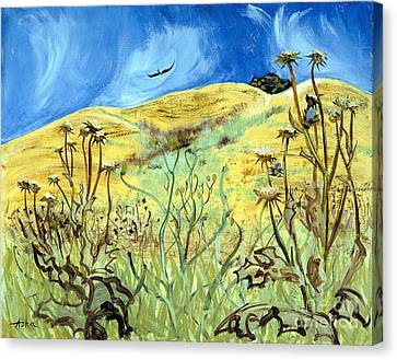 Canvas Print featuring the painting Yellow Hills And Thistles  by Asha Carolyn Young