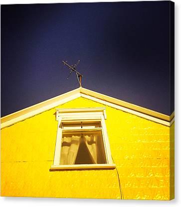 Yellow House In Akureyri Iceland Canvas Print