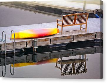 Canvas Print featuring the photograph Yellow Kayak At The Sparks Marina by Janis Knight
