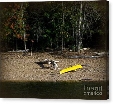 Yellow Kayak Canvas Print by Leone Lund