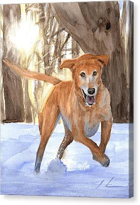 Yellow Lab Dog In Snow Watercolor Portrait Canvas Print by Mike Theuer