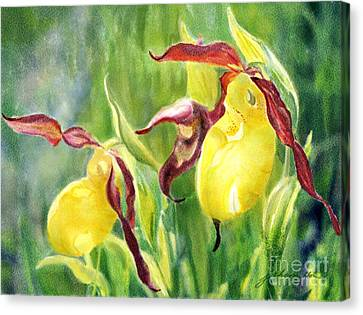 Yellow Lady Slippers Canvas Print by Joan A Hamilton
