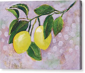 Yellow Lemons On Purple Orchid Canvas Print by Jen Norton