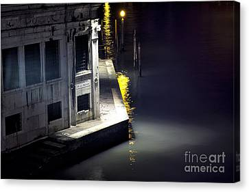 Yellow Light On The Grand Canal Canvas Print by John Rizzuto
