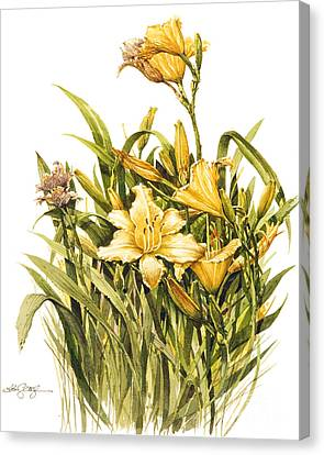 Canvas Print featuring the painting Yellow Lily by Bob  George