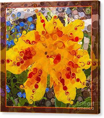 Yellow Lily With Streaks Of Red Abstract Painting Flower Art Canvas Print