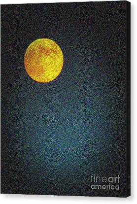 Yellow Man In The Moon Canvas Print by Colleen Kammerer
