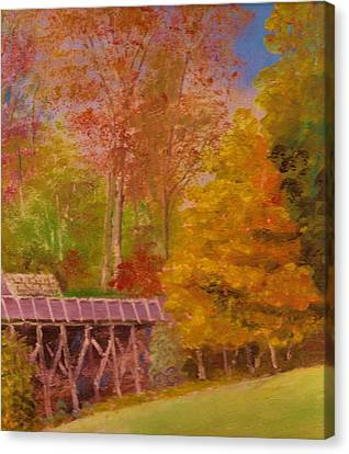 Yellow Maple Tree Near Old Mill Canvas Print by Anne-Elizabeth Whiteway
