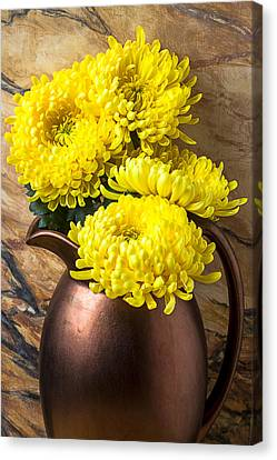 Yellow Mums In Copper Vase Canvas Print by Garry Gay