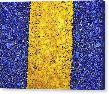 Yellow On Blue Stone Canvas Print