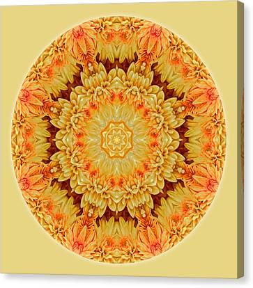 Yellow Orange Mum Mandala Canvas Print