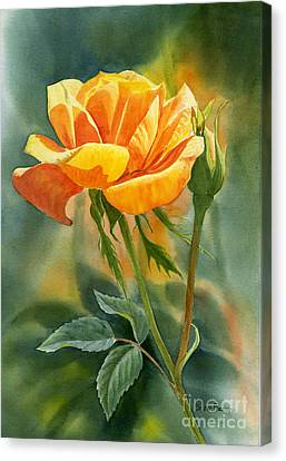 Yellow Orange Rose With Background Canvas Print by Sharon Freeman