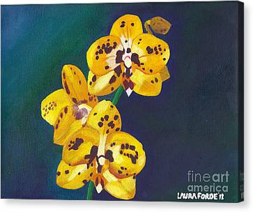 Yellow Orchids Canvas Print by Laura Forde