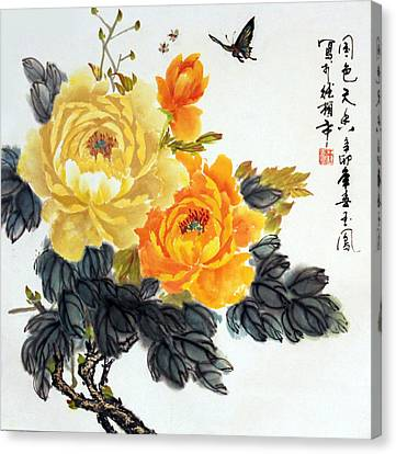 Canvas Print featuring the photograph Yellow Peonies by Yufeng Wang