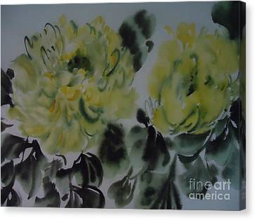 Canvas Print featuring the painting Yellow Peony 1-01272012 by Dongling Sun