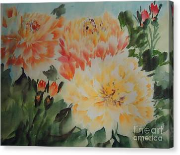 Canvas Print featuring the painting Yellow Peony by Dongling Sun